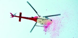 Flower-showers-with-helicopter